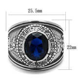 TK414707 High polished (no plating) Stainless Steel Ring with Synthetic in Sapphire