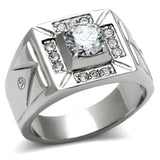 TK486 High polished (no plating) Stainless Steel Ring with AAA Grade CZ in Clear