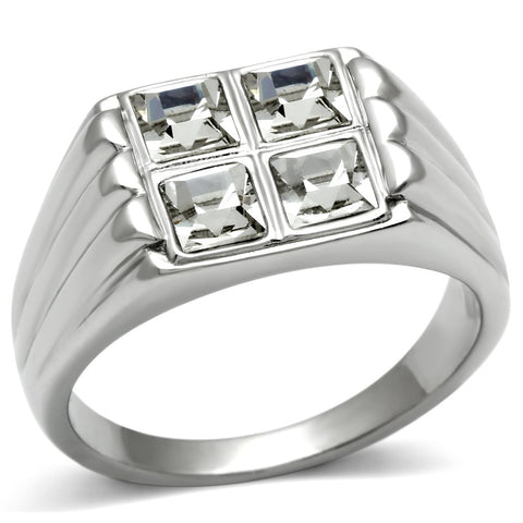 TK488 High polished (no plating) Stainless Steel Ring with Top Grade Crystal in Clear