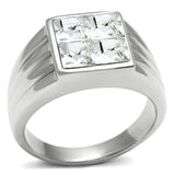 TK489 High polished (no plating) Stainless Steel Ring with Top Grade Crystal in Clear