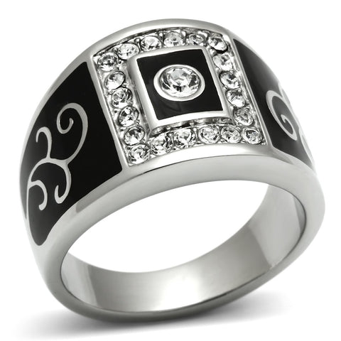 TK492 High polished (no plating) Stainless Steel Ring with Top Grade Crystal in Clear