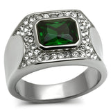 TK590 High polished (no plating) Stainless Steel Ring with Synthetic in Emerald