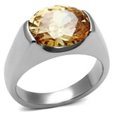 TK622 High polished (no plating) Stainless Steel Ring with AAA Grade CZ in Champagne