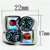 TK645 High polished (no plating) Stainless Steel Ring with Top Grade Crystal in Multi Color