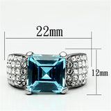 TK648 High polished (no plating) Stainless Steel Ring with Top Grade Crystal in Sea Blue