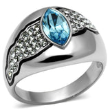 TK659 High polished (no plating) Stainless Steel Ring with Top Grade Crystal in Sea Blue