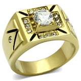 TK723 IP Gold(Ion Plating) Stainless Steel Ring with AAA Grade CZ in Clear