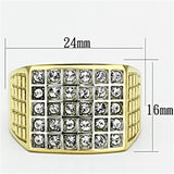TK734 Two-Tone IP Gold (Ion Plating) Stainless Steel Ring with Top Grade Crystal in Clear