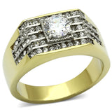 TK737 Two-Tone IP Gold (Ion Plating) Stainless Steel Ring with AAA Grade CZ in Clear