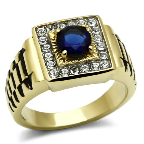 TK754 Two-Tone IP Gold (Ion Plating) Stainless Steel Ring with Synthetic in Montana
