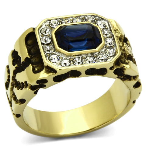 TK756 Two-Tone IP Gold (Ion Plating) Stainless Steel Ring with Top Grade Crystal in Montana