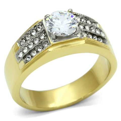 TK759 Two-Tone IP Gold (Ion Plating) Stainless Steel Ring with AAA Grade CZ in Clear