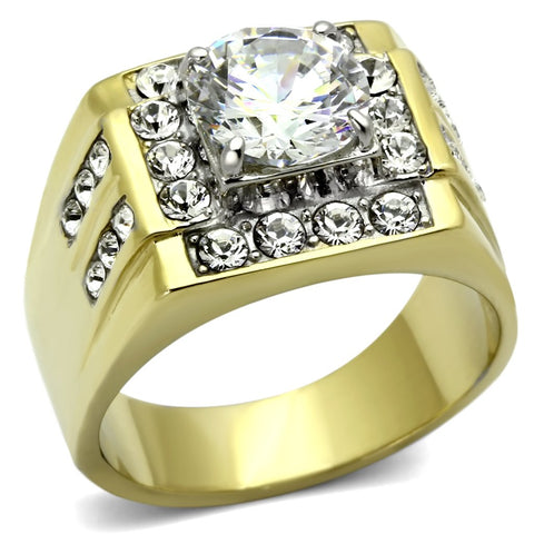 TK760 Two-Tone IP Gold (Ion Plating) Stainless Steel Ring with AAA Grade CZ in Clear