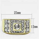 TK762 Two-Tone IP Gold (Ion Plating) Stainless Steel Ring with Top Grade Crystal in Clear