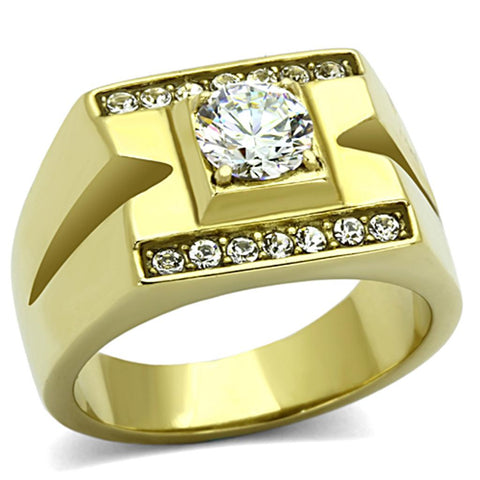 TK777 IP Gold(Ion Plating) Stainless Steel Ring with AAA Grade CZ in Clear