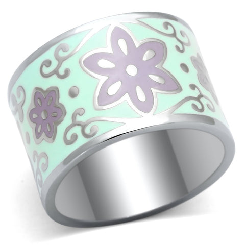TK824 High polished (no plating) Stainless Steel Ring with Epoxy in Multi Color