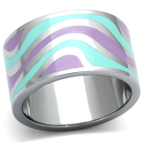 TK840 High polished (no plating) Stainless Steel Ring with Epoxy in Multi Color
