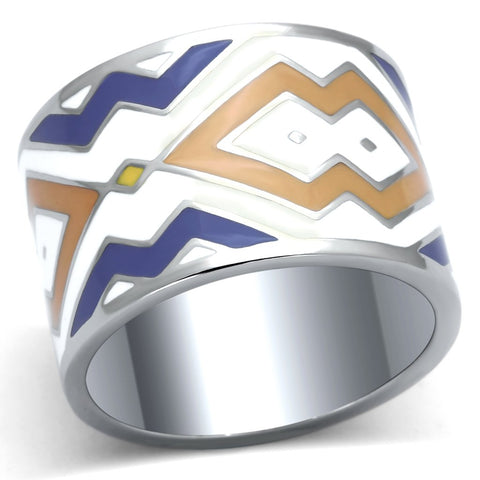 TK841 High polished (no plating) Stainless Steel Ring with Epoxy in Multi Color