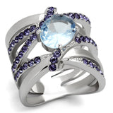 TK865 High polished (no plating) Stainless Steel Ring with Synthetic in Light Sapphire