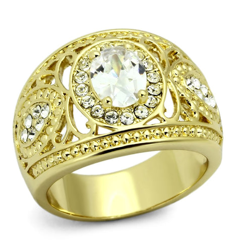 TK868 IP Gold(Ion Plating) Stainless Steel Ring with AAA Grade CZ in Clear