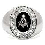 TK8X023 High polished (no plating) Stainless Steel Ring with Top Grade Crystal in Clear
