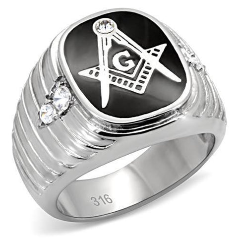TK8X024 High polished (no plating) Stainless Steel Ring with Top Grade Crystal in Clear