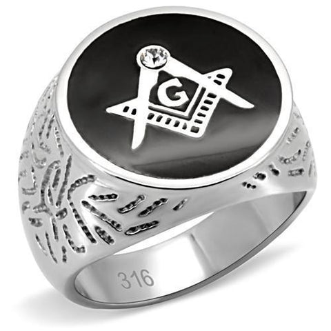 TK8X034 High polished (no plating) Stainless Steel Ring with Top Grade Crystal in Clear