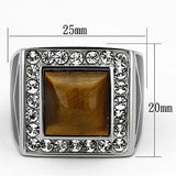 TK938 High polished (no plating) Stainless Steel Ring with Synthetic in Topaz