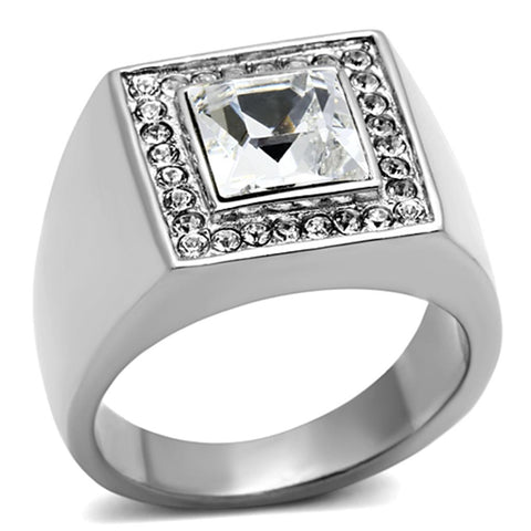 TK945 High polished (no plating) Stainless Steel Ring with Top Grade Crystal in Clear