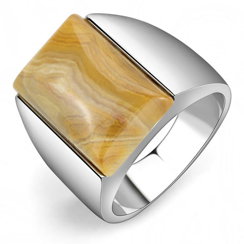 TK947 High polished (no plating) Stainless Steel Ring with Semi-Precious in Brown