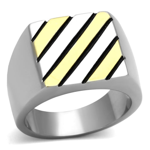 TK952 Two-Tone IP Gold (Ion Plating) Stainless Steel Ring with No Stone in No Stone