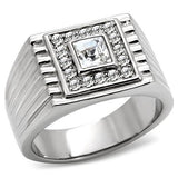TK95312 High polished (no plating) Stainless Steel Ring with Top Grade Crystal in Clear