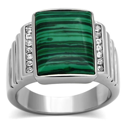 TK953 High polished (no plating) Stainless Steel Ring with Synthetic in Emerald