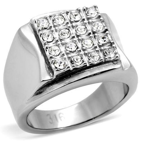 TK95409 High polished (no plating) Stainless Steel Ring with Top Grade Crystal in Clear