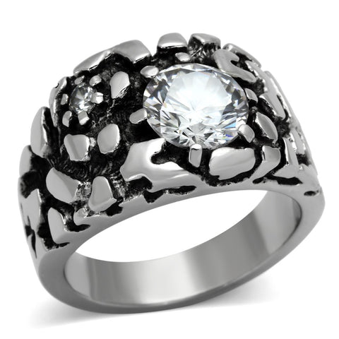 TK958 High polished (no plating) Stainless Steel Ring with AAA Grade CZ in Clear