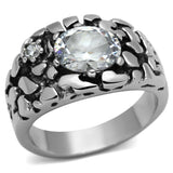 TK959 High polished (no plating) Stainless Steel Ring with AAA Grade CZ in Clear