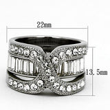 TK970 High polished (no plating) Stainless Steel Ring with Top Grade Crystal in Clear
