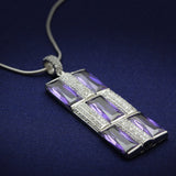 TS026 Rhodium 925 Sterling Silver Chain Pendant with AAA Grade CZ in Amethyst