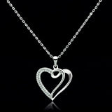 TS035 Rhodium 925 Sterling Silver Necklace with AAA Grade CZ in Clear