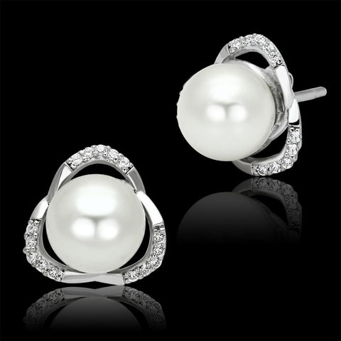 TS066 Rhodium 925 Sterling Silver Earrings with Synthetic in White