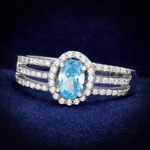 TS184 Rhodium 925 Sterling Silver Ring with AAA Grade CZ in Sea Blue