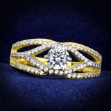TS200 Gold+Rhodium 925 Sterling Silver Ring with AAA Grade CZ in Clear