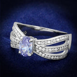 TS265 Rhodium 925 Sterling Silver Ring with AAA Grade CZ in Light Amethyst
