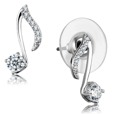 TS284 Rhodium 925 Sterling Silver Earrings with AAA Grade CZ in Clear