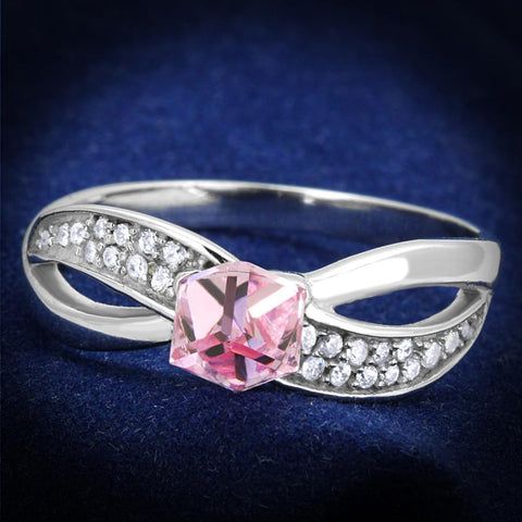TS313 Rhodium 925 Sterling Silver Ring with Top Grade Crystal in Light Rose