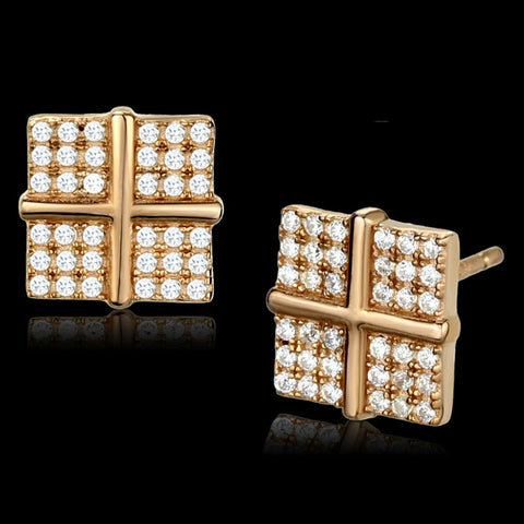 TS322 Rose Gold 925 Sterling Silver Earrings with AAA Grade CZ in Clear