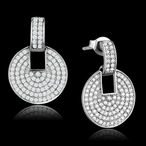 TS323 Rhodium 925 Sterling Silver Earrings with AAA Grade CZ in Clear