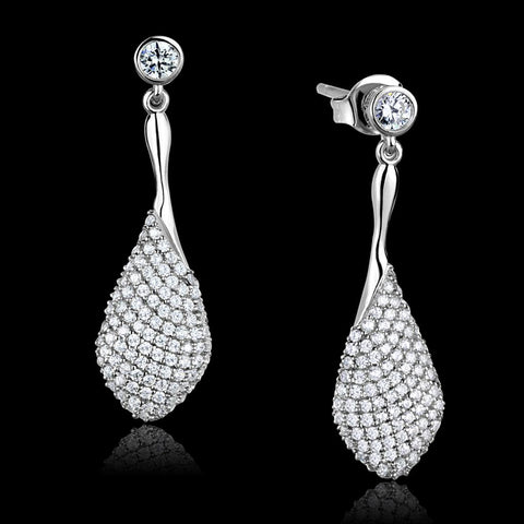 TS324 Rhodium 925 Sterling Silver Earrings with AAA Grade CZ in Clear
