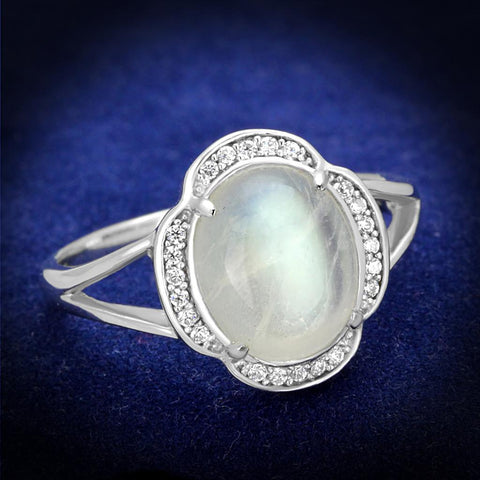 TS393 Rhodium 925 Sterling Silver Ring with Semi-Precious in Clear