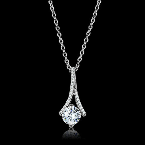 TS411 Rhodium 925 Sterling Silver Chain Pendant with AAA Grade CZ in Clear